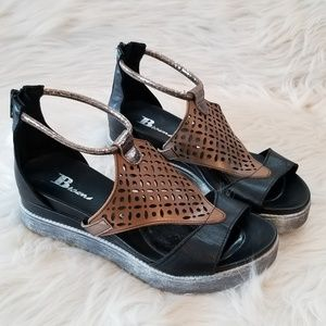 Browns Italian Leather Wedge Sandals, Size 37